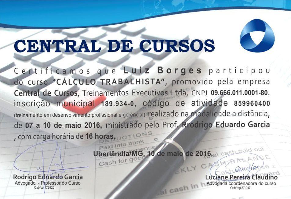 Certificado Cálculo Trabalhista