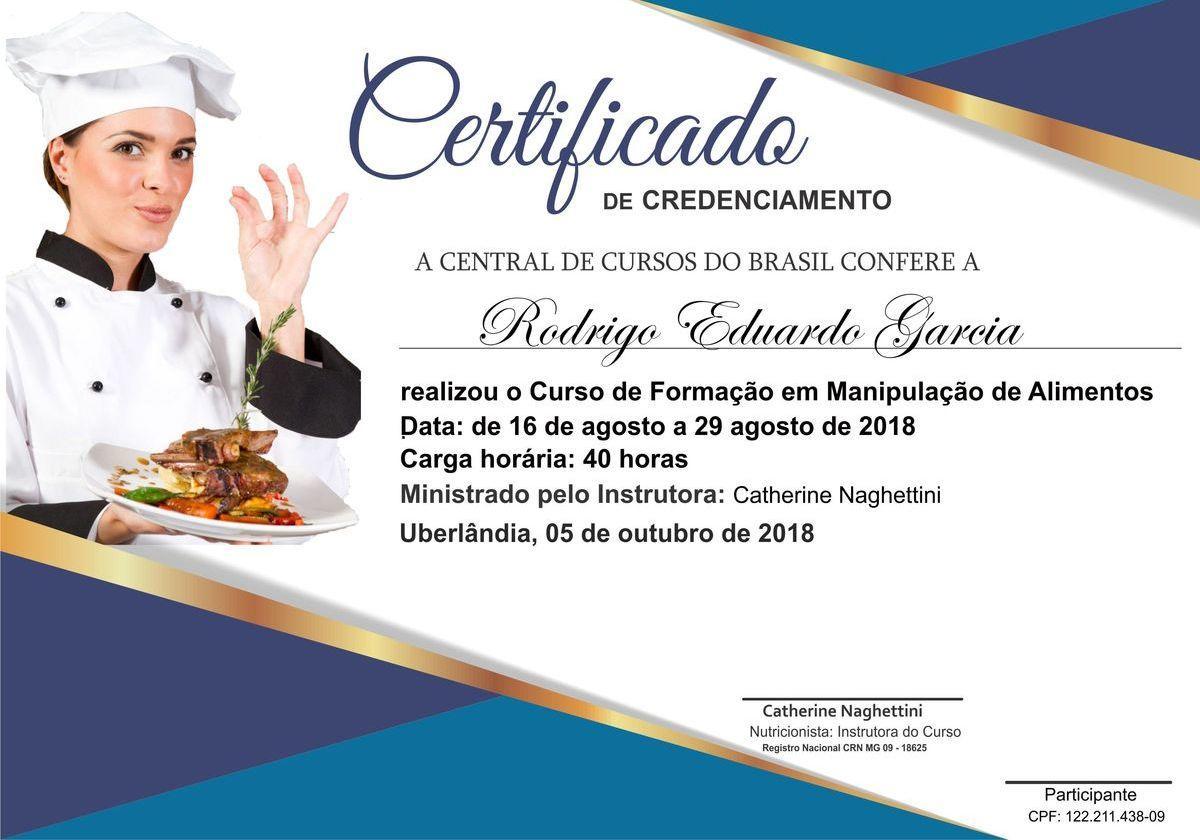 Certificado de manipulação
