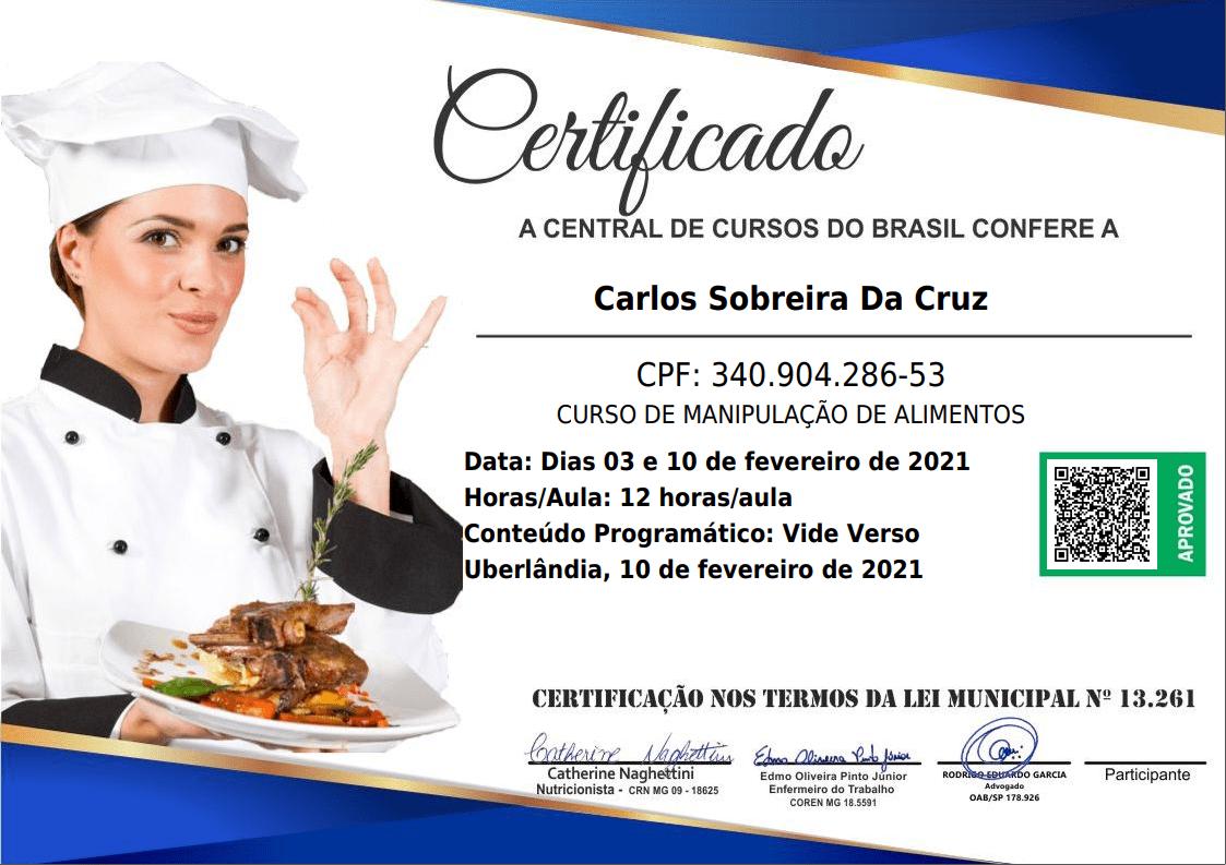 Certificado de Manipulação de alimentos frente